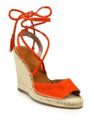 Joie Phyllis Suede Lace Up Espadrille Wedge Sandals Sunset Skylark Citrus