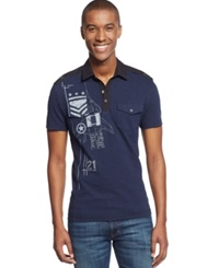 Inc International Concepts Charlie Delta Polo Basic Navy