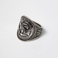 River Island Mens Dark Silver Tone Anchor Ring