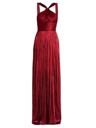 Maria Lucia Hohan Silk Tulle Pleated Gown Red