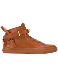 Buscemi Buckled Hi Top Sneakers Brown