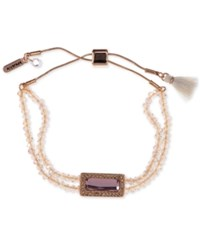 Lonna And Lilly Rose Gold Tone Beaded Slider Bracelet