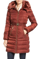Vince Camuto Women's Belted Faux Fur Collar Quilted Coat With Detachable Hood