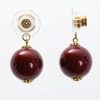 Chrysmela Infinity Earring Jacket With Swarovski Crystal Pearls Bordeaux Red Gold