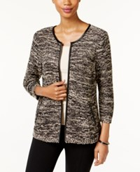 Jm Collection Marled Faux Leather Trim Cardigan Only At Macy's Baked Almond Combo
