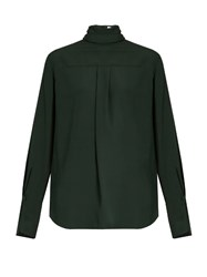Chloe Ruffled High Neck Blouse Dark Green