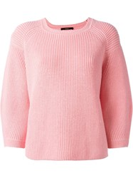 Odeeh Three Quarter Sleeve Sweater Pink And Purple