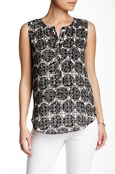 Nydj Stamped Polka Dot Print Sleeveless Blouse Black