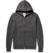 Burberry London Fleece Back Cotton Blend Jerey Zip Up Hoodie Gray