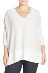 Plus Size Women's Sejour Dolman Sleeve V Neck Pullover White Snow