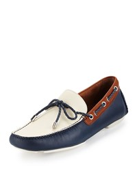 Donald J Pliner Vicc Colorblock Leather Driver Navy Off White