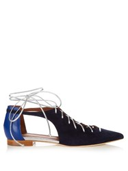Malone Souliers Montana Lace Up Suede Flats Navy Multi