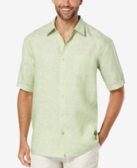 Cubavera Men's Crosshatch Linen Short Sleeve Shirt Green Tea