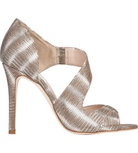 Lk Bennett Laura Striped Metallic Sandals Sil Silver