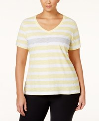 Styleandco. Style And Co. Sport Short Sleeve Striped Tee Only At Macy's Soft Sun City Silver