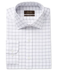 Tasso Elba Men's Classic Fit Non Iron Double Windowpane Dress Shirt Only At Macy's Purple