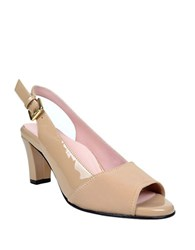 Taryn Rose Fortula Patent Leather Slingback Heels Beige