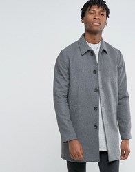 Asos Wool Mix Trench Coat In Light Grey Marl Grey