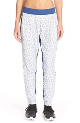 Lorna Jane Chantilly Lace Front Track Pants White Indigo Black