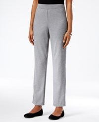 Alfred Dunner Petite Classics Straight Leg Pull On Ponte Pants Grey