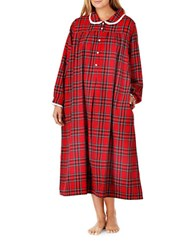 Lanz Plus Cotton Flannel Ballet Nightgown Red Plaid