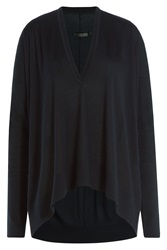 Donna Karan New York Oversize Pullover With Wool Cashmere And Silk Blue