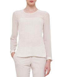 Akris Cross Stitch Long Sleeve Blouse Off White