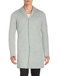 Members Only Long Cotton Blend Snap Coat Light Heather