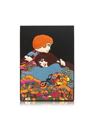 Olympia Le Tan Romeo And Juliet Cotton Coated Brass Book Clutch Black