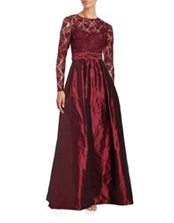 Teri Jon Sequined Lace And Taffeta A Line Gown Wine