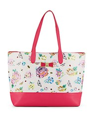Betsey Johnson Be My Bow Floral Print Tote White Multi