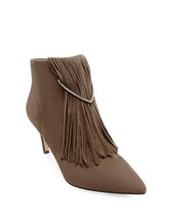 Brian Atwood Perri Fringed Ankle Boots Taupe
