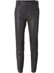Drome Slim Leather Trousers Grey