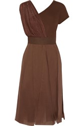 M Missoni Paneled Cotton And Silk Blend Dress Brown