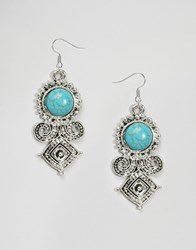 Reclaimed Vintage Turquoise Stone Drop Earrings Silver