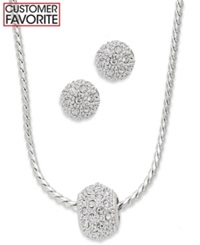 Charter Club Silver Tone Glass Crystal Necklace And Stud Earrings