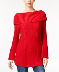 Styleandco. Style Co. Off The Shoulder Cable Knit Sweater Only At Macy's New Red Amore