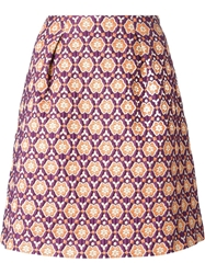 L'autre Chose Floral Jacquard Skirt Pink And Purple