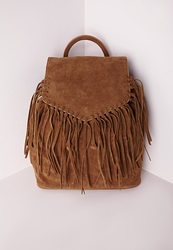 Missguided Faux Suede Tassel Backpack Tan Brown
