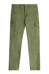 Closed Stretch Cotton Cargo Pants Green