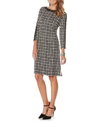 Rafaella Petite Ity Grid Printed Long Sleeve Dress Black