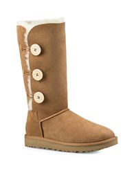 Ugg Classic Bailey Button Triplet Ii Leather Winter Boots Chestnut