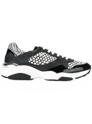 Salvatore Ferragamo Animal Print Panel Sneakers Black