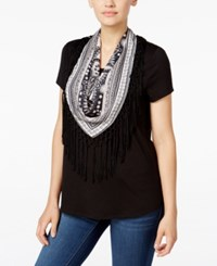 Styleandco. Style Co. T Shirt With Printed Fringe Scarf Only At Macy's Deep Black