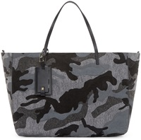 Valentino Black And Grey Felted Camouflage Tote