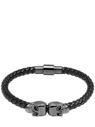 Northskull Twin Skull Black Nappa Leather Bracelet