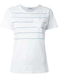 Jimi Roos 'Blue Stripes' T Shirt White
