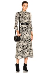 Saint Laurent 70S Floral Long Dress In Black White Floral Black White Floral