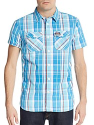 Superdry Surfbasket Plaid Cotton Sportshirt Blue