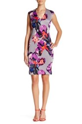 Donna Ricco V Neck Floral Sheath Dress Petite Pink